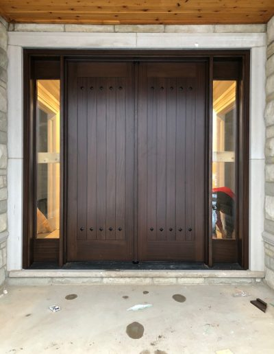 Mahogany Double Front Door with Glass Side Lights