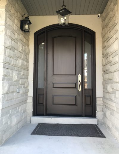 Mahogany Exterior Door With Curved Top