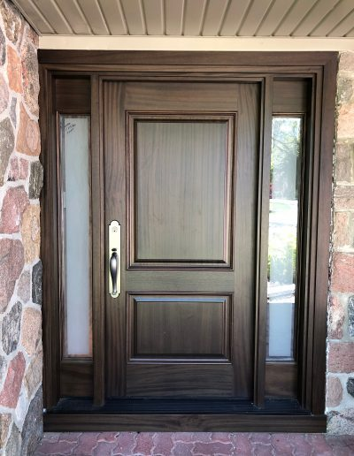 Classic Exterior Door with Frosted Glass Side Lights