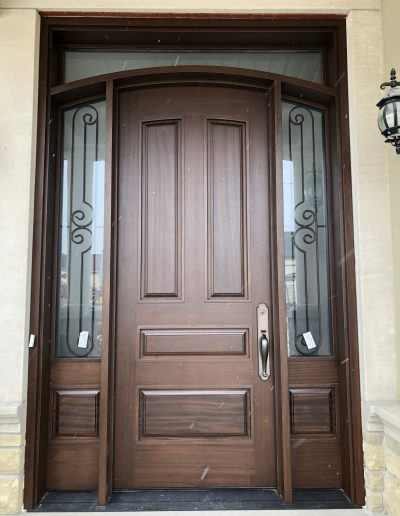 Class Front Door with Rounded Top & 3/4 Glass Side Lights