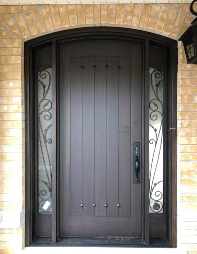 Mahogany Front Door with Glass Side lights