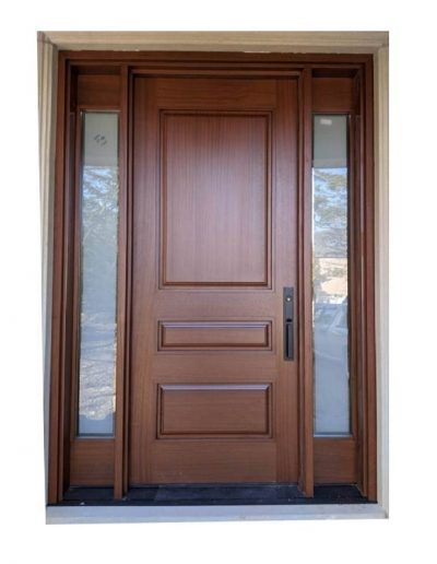 classic medium brown Wood Exterior Door with two sidelits