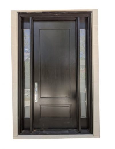 Transitional Black Wood Exterior Door with two sidelits