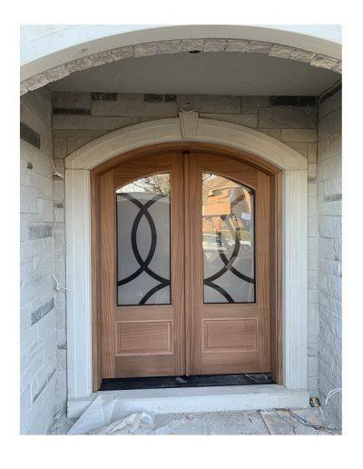 Traditional raw Wood Exterior Double Door