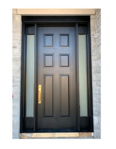 classic black Wood Exterior Door with two sidelits