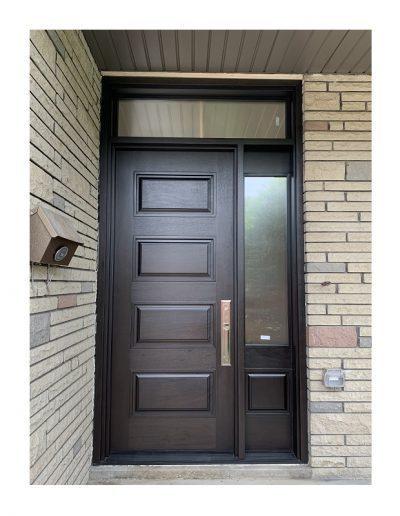 classic dark brown Wood Exterior Door with one sidelits
