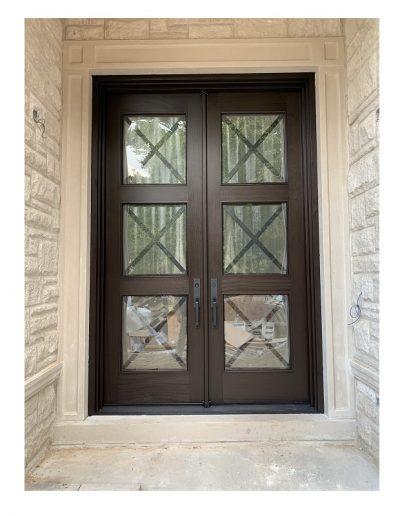 transitional medium brown Wood double Exterior Door