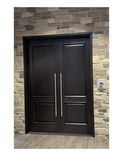classic dark brown Wood double Exterior Door
