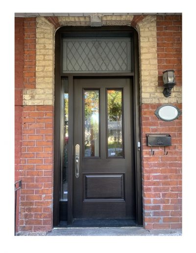 classic brown Wood Exterior Door with one sidelits