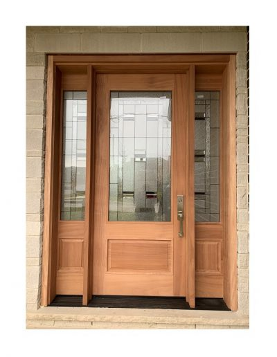 classic Wood Exterior Door with two sidelits