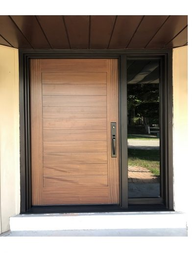 Modern Flat Light Brown Wood Exterior Door with one sidelit and horizontal grooves
