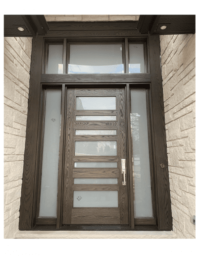 Modern Flat Dark Brown Wood Exterior Door with sidelits, transom and horizontal glass slots