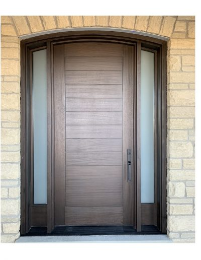 Modern Dark Brown Wood Exterior Door with Two sidelit and horizontal grooves