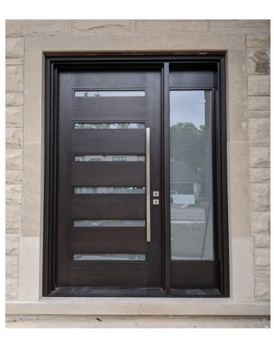Modern Flat Dark Brown Wood Exterior Door with horizontal glass slots and one sidelit