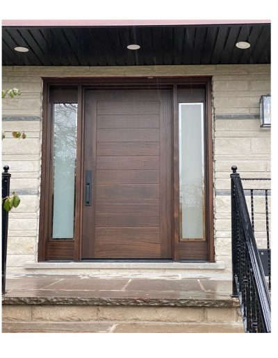 Modern Medium Brown Wood Exterior Door with Two sidelit and horizontal grooves