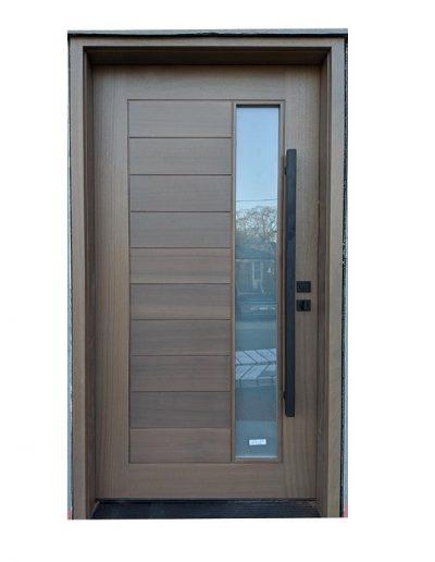 Modern light Brown Wood Exterior Door with Vertical Window Inserts