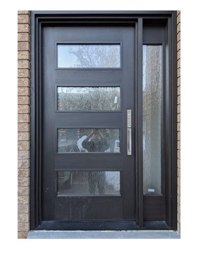 Modern Dark Brown Wood Exterior Door with one sidelit and horizontal Glasses