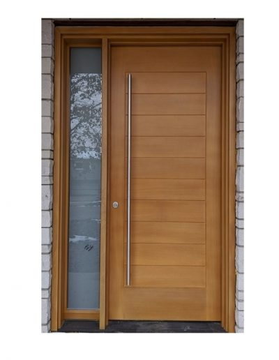 Modern light Brown Wood Exterior Door with one sidelit and horizontal grooves