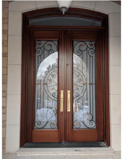 classic medium brown Wood double Exterior Door with transom