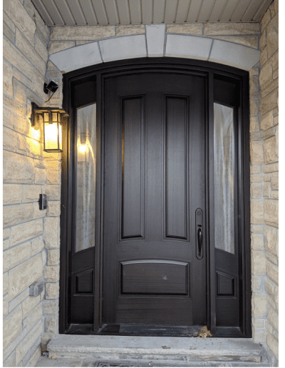 classic brown Wood Exterior Door with two sidelits