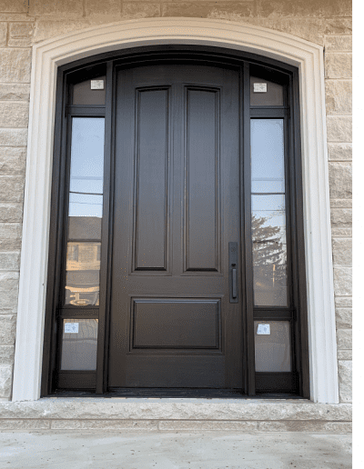 classic dark brown Wood Exterior Door with two sidelits