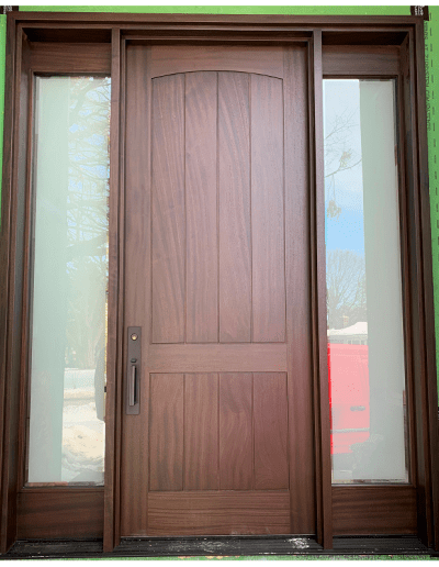 Transitional brown Wood Exterior Door with two sidelits